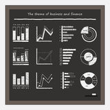 Business graphs on blackboard with chalk. Graphics for business topics and statistics, 12 of a vector object. Chalk hand Stock Photography