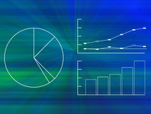 Business Graphs and Charts. Mathematical business pie charts, graphs, and charts on blue background Stock Images
