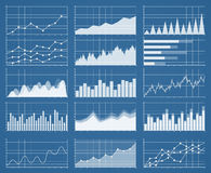 Business graphs and charts set. Analysis and management of financial assets. Information on charts, statistical data. Growth and falling on Information Stock Photos