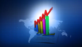Business graphs. 3d render of business graphs background Stock Photos