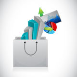 Business graphs inside a shopping bag. Stock Image