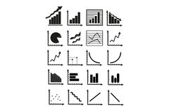 Business Graphs. Overview about different kind of business graph, which are necessary in the daily routine Stock Image