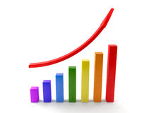 Business graphs with red rising arrow Stock Photo