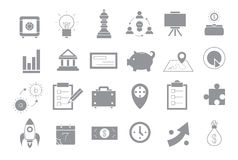Business gray strategy vector icons set Stock Photography