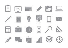 Business gray vector icons set Stock Photos