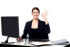 Business is great. Cheerful corporate woman. Stock Photos