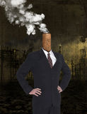 Business Greed, Profit, Global Warming, Pollution. Abstract concept for business greed, profit, and money. A smokestack wearing a business suit and spewing Royalty Free Stock Photo