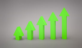 Business Green arrow line graph pointing up 3d rendering Stock Image