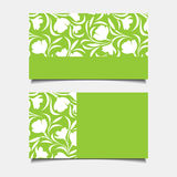 Business green cards with floral pattern. Vector illustration. Stock Images