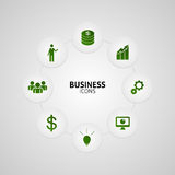Business green icons in button vector. Illustration Royalty Free Stock Photos