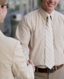 Business greeting. Business man and woman are shaking hands outside in a meeting Stock Images