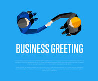 Business greeting. Top view partners handshaking Stock Image