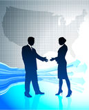 Business greeting with US map Stock Photos