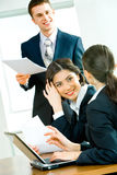 Business group. Image of business people interacting at working briefing royalty free stock photo