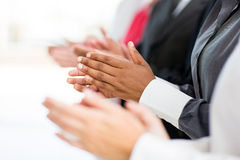 Business group applauding. For good news Royalty Free Stock Photos