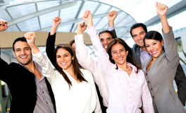 Business group with arm up Royalty Free Stock Photos