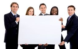 Business group with banner Royalty Free Stock Photos
