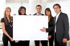 Business group with a banner Stock Images