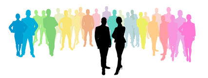 Business group behind a business woman and business man Stock Photography
