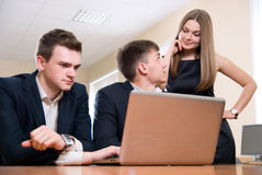 Business group behind the laptop Stock Image