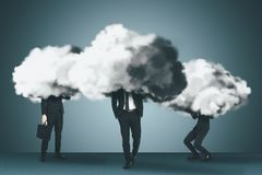 Business group with cloud and brainstorm concepts royalty free stock photography