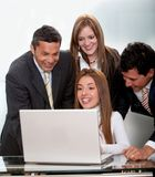 Business group with a computer Stock Photos