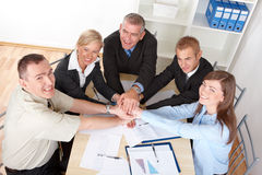 Business group hands put toghether Royalty Free Stock Photos