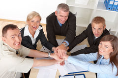 Business group hands put toghether Royalty Free Stock Photo