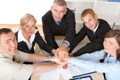Business group hands put toghether Stock Photography