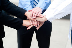 Business group with hands together Stock Images