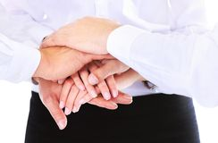 Business group with hands together Royalty Free Stock Photos