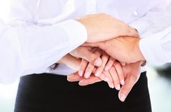 Business group with hands together Stock Photo