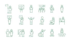 Business group icon. Office work people team meeting freelancer socializing colleague communications vector thin symbols vector illustration