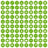 100 business group icons hexagon green. 100 business group icons set in green hexagon isolated vector illustration Stock Photos