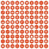 100 business group icons hexagon orange Royalty Free Stock Photography