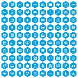 100 business group icons set blue. 100 business group icons set in blue hexagon isolated vector illustration Stock Illustration