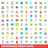 100 business group icons set, cartoon style. 100 business group icons set in cartoon style for any design vector illustration Royalty Free Stock Photography