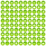 100 business group icons set green circle. Isolated on white background vector illustration Royalty Free Stock Images