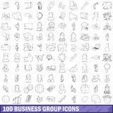 100 business group icons set, outline style Royalty Free Stock Images