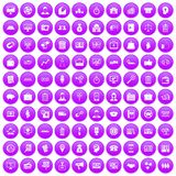 100 business group icons set purple. 100 business group icons set in purple circle isolated on white vector illustration Stock Photos