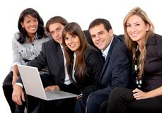 Business group with laptop Royalty Free Stock Image
