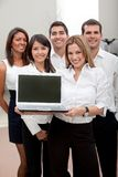 Business group with laptop Royalty Free Stock Photo