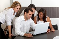 Business group with laptop Royalty Free Stock Photography
