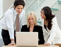 Business group with laptop Stock Images