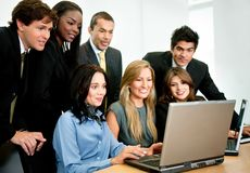 Business group with laptop Stock Photos