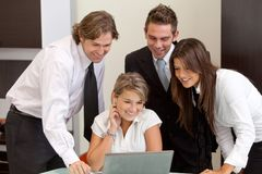 Business group with laptop Royalty Free Stock Images