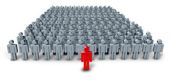 Business Group Leader. Symbol with a large crowd of grey worker characters being confidently lead by a red human icon as a concept of leadership guidance on a Stock Photos