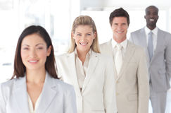 Business Group in a line with Differential focus royalty free stock photography