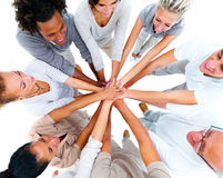 Business group-overlapping hands Royalty Free Stock Image