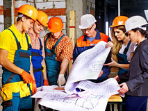 Business group people in builder helmet . Royalty Free Stock Photos